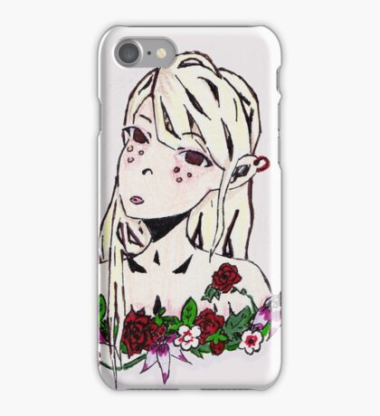 Elf with rose garland on purple background iPhone Case/Skin