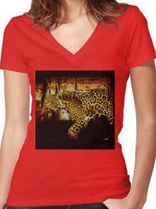 Jaguar Wild Cat Animal-Lover Artwork Women's Fitted V-Neck T-Shirt