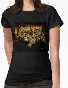 Jaguar Wild Cat Animal-Lover Artwork Womens Fitted T-Shirt