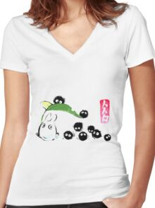 Ink forest Women's Fitted V-Neck T-Shirt
