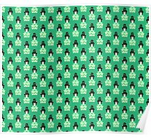 Furisode Girl Green Pattern Poster
