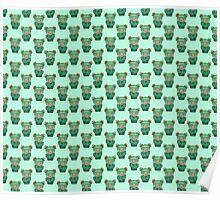 Green Kokeshi Pattern Poster