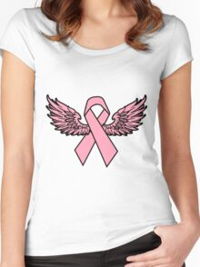 Winged Breast Cancer Awareness Ribbon Cancer Awareness Shirts Women's Fitted Scoop T-Shirt
