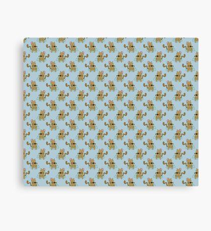 Dancing Cat Pattern Canvas Print