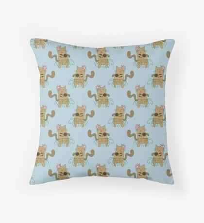 Dancing Cat Pattern Throw Pillow