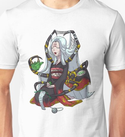 Knitting Spider Girl Yokai Drinking Green Tea MONSTER GIRLS Series I Unisex T-Shirt