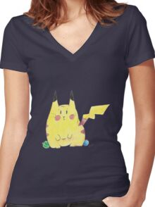 The Pikachu Women's Fitted V-Neck T-Shirt
