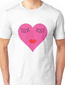 Lips and Lashes Heart Face Unisex T-Shirt