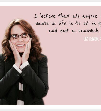 Liz Lemon, sitting & sandwiches Sticker