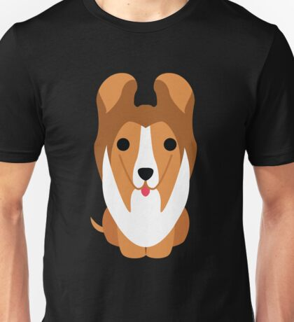Sheltie Dog Emoji Innocent Face Unisex T-Shirt