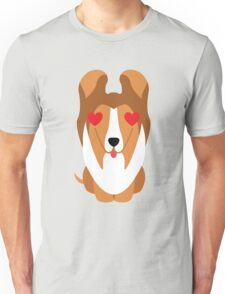 Sheltie Dog Emoji Heart and Love Eye Unisex T-Shirt