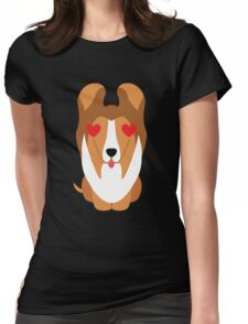 Sheltie Dog Emoji Heart and Love Eye Womens Fitted T-Shirt