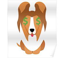 Sheltie Dog Emoji Money Face Poster