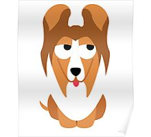 Sheltie Dog Emoji Think Hard and Hmm Poster