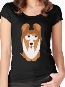 Sheltie Dog Emoji Think Hard and Hmm Women's Fitted Scoop T-Shirt