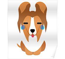 Sheltie Dog Emoji Teary Eye of Joy Poster