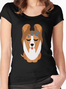 Sheltie Dog Emoji Sleep and Dream Women's Fitted Scoop T-Shirt
