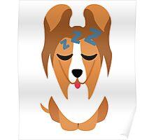 Sheltie Dog Emoji Sleep and Dream Poster