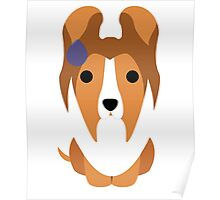 Sheltie Dog Emoji Speechless with Sweat Poster
