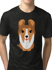 Sheltie Dog Emoji Angry and Mean Tri-blend T-Shirt