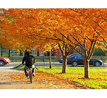 Cycling through Autumn, New York City Photographic Print