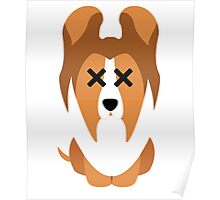 Sheltie Dog Emoji Faint and Knock Out Poster