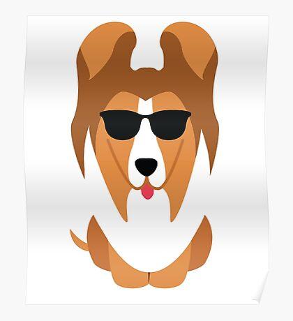 Sheltie Dog Emoji Cool Sunglasses Poster