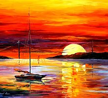 Golden Gate Bridge By The Sunset — Buy Now Link - www.etsy.com/listing/174175820 by Leonid  Afremov