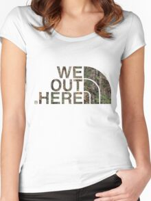 We Out Here (camo) Women's Fitted Scoop T-Shirt