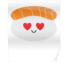 Salmon Sushi Emoji Heart and Love Eye Poster