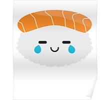 Salmon Sushi Emoji Teary Eye of Joy Poster