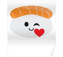 Salmon Sushi Emoji Flirt and Blow Kiss Poster