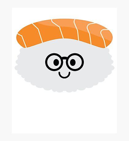 Salmon Sushi Emoji Nerd Noob Glasses Photographic Print