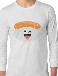 Salmon Sushi Emoji Wink and Tongue Out Long Sleeve T-Shirt