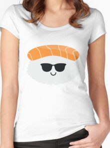 Salmon Sushi Emoji Cool Sunglasses Women's Fitted Scoop T-Shirt
