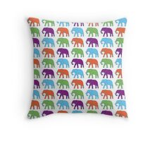 Elephants colored texture Throw Pillow