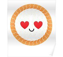 Salmon Maki Sushi Roll Emoji Heart and Love Eye Poster