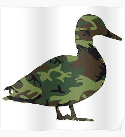 Camo Duck Funny Duck Shirts Poster