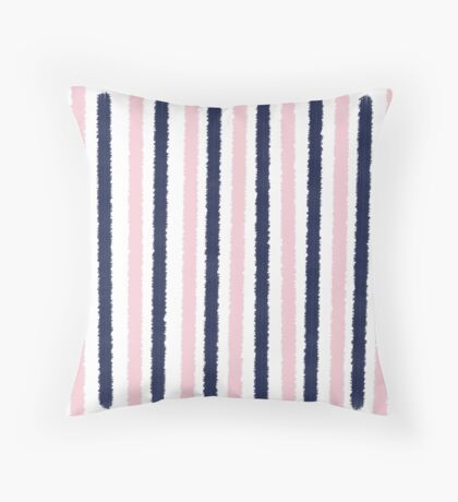 Pink and Navy Blue Stripes Throw Pillow