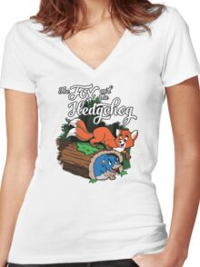 The Fox and the Hedgehog  Women's Fitted V-Neck T-Shirt