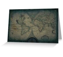 Old Map Of The World Grunge blueprint Greeting Card
