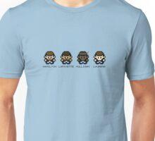 Hamilton, Lafayette, Mulligan, & Laurens in 8-bit Unisex T-Shirt