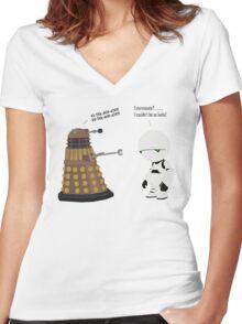 Dalek and Marvin mashup Women's Fitted V-Neck T-Shirt
