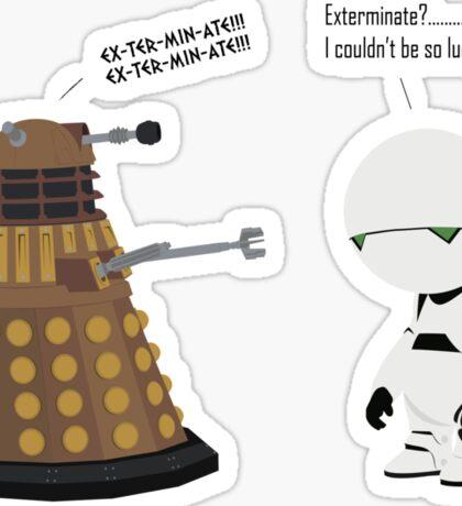 Dalek and Marvin mashup Sticker