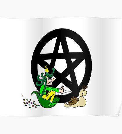 Faerie with Racing Snail and Pentacle Poster