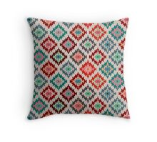 Kilim Inspired Motif - Vibrant Palette Throw Pillow