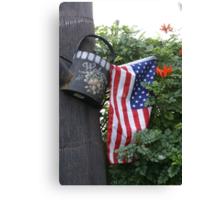 Patriotic Welcome; Wat Garden, La Mirada, CA USA (*challenge note 1;Vertical Lines on Can/Vertical Angle of lines of Flag; Challenge note 2; Commerative 911 Dedication 911 Read Description))  Canvas Print