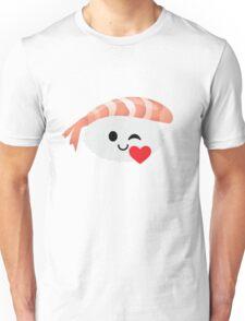 Shrimp Nigiri Sushi Emoji Flirt and Blow Kiss Unisex T-Shirt