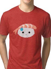 Shrimp Nigiri Sushi Emoji Speechless with Sweat Tri-blend T-Shirt