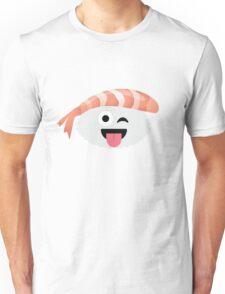Shrimp Nigiri Sushi Emoji Wink and Tongue Out Unisex T-Shirt